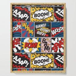 Modern Comic Book Superhero Pattern Color Colour Cartoon Lichtenstein Pop Art Serving Tray