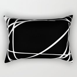 Black and White Circles and Swirls Modern Abstract Rectangular Pillow