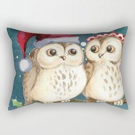Cute Christmas Winter Owl Couple Painting Rectangular Pillow