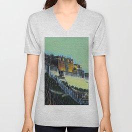 China Potala Palace Artistic Illustration Swamp Style Unisex V-Neck