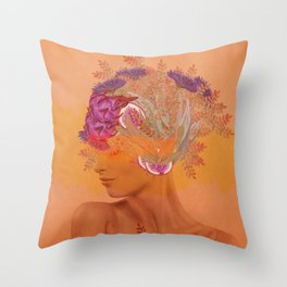 Woman in flowers III Throw Pillow