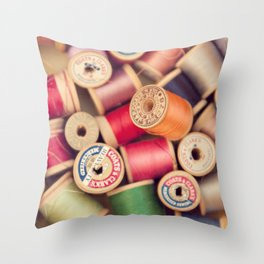 vintage spools Throw Pillow