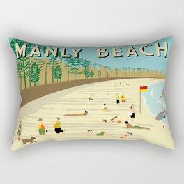 Manly Beach Retro Art Print Rectangular Pillow