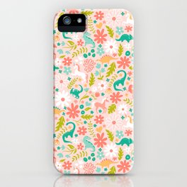Dinosaurs + Unicorns in Pink + Teal iPhone Case