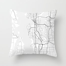 Seattle street map Throw Pillow