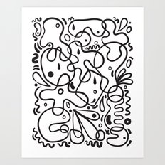 Black & White Blobs Art Print