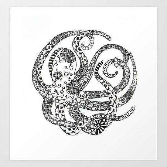 Circular Octopus Art Print