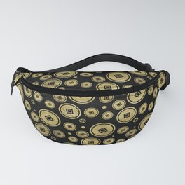 Chinese Coin Pattern Gold on Black Fanny Pack