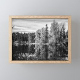 Autumn Makes an Appearance at Fish Lake bw Framed Mini Art Print