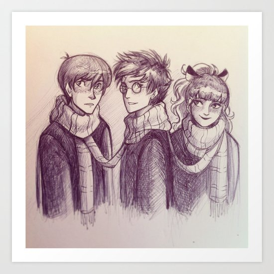Harry, Ron & Hermione Art Print