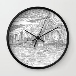 Line art Auckland Skyline Wall Clock