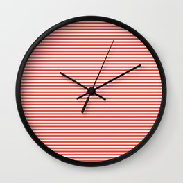 Even Horizontal Stripes, Red and White, XS Wall Clock