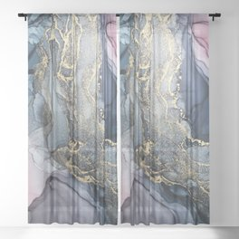 Blush, Payne's Gray and Gold Metallic Abstract Sheer Curtain