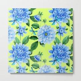 Modern blue lime punch watercolor dahlia floral pattern Metal Print