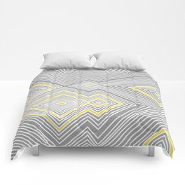 White, Yellow, and Gray Lines - Illusion Comforters