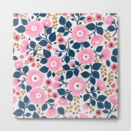 07 Floral pattern. White background. Pink flowers. Metal Print
