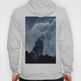 Wolf howling at full moon Hoody