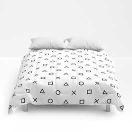 Playstation Controller Pattern (Black on White) Comforters