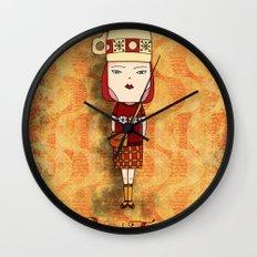 Red Tea Girl Wall Clock