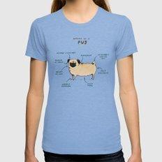 Anatomy of a Pug Tri-Blue Womens Fitted Tee MEDIUM