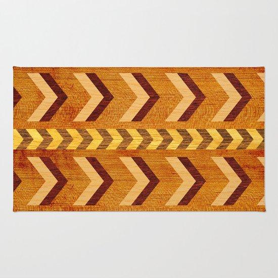 Wood Inlaid Chevrons Rug