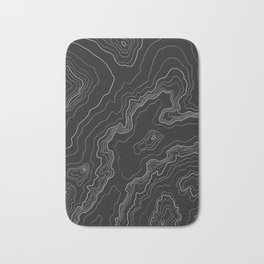 Black & White Topography map Bath Mat