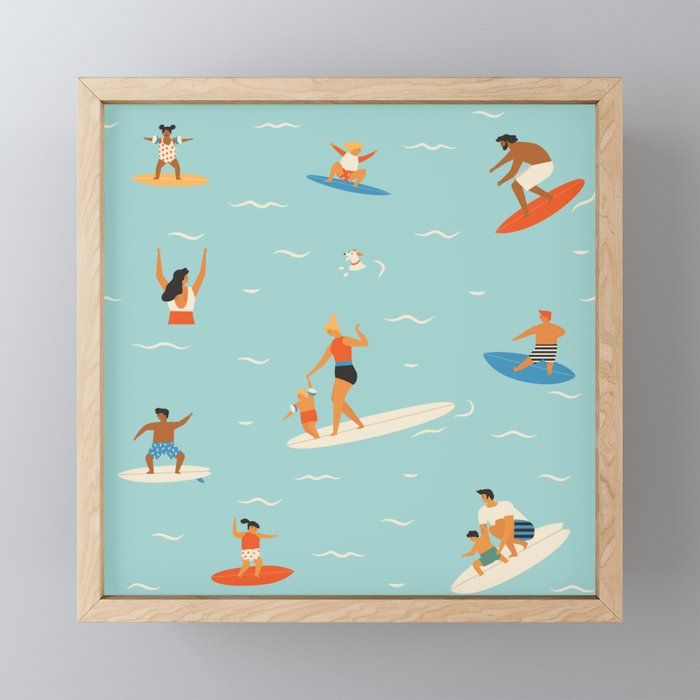Surfing kids Framed Mini Art Print