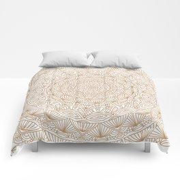 Brown Tan Intricate Detailed Hand Drawn Mandala Ethnic Pattern Design Comforters