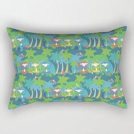 Monkeys Meditating in the Jungle Seamless Pattern Rectangular Pillow