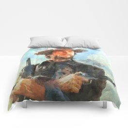 Portrait of Clint Eastwood Comforters