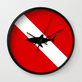 Diving Flag: Shark Wall Clock