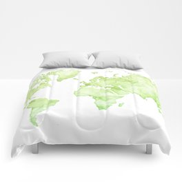 Green watercolor world map Comforters