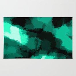Emmy - Emerald green abstract art Rug