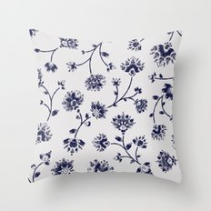 Indigo Floral Trail (reversed) Throw Pillow