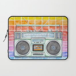 Boombox - Watercolor - Rainbow Background vintage boombox - Stereo - 1980s Laptop Sleeve