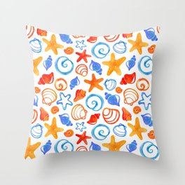 Colorful Coastal Shells Throw Pillow