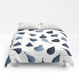 Pears pattern in cyanotype Comforters