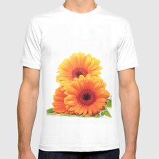 Floral Pattern Design MEDIUM White Mens Fitted Tee