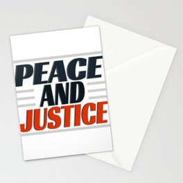 """Come and get this cute and simple tee design with text """"Peace and Justice"""". Makes a nice gift! Stationery Cards"""