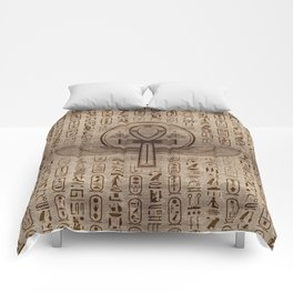Egyptian Cross - Ankh - Wooden Texture Comforters