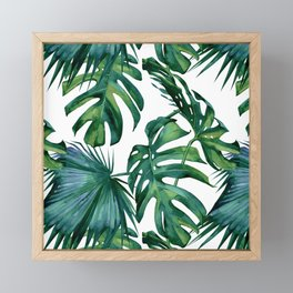 Classic Palm Leaves Tropical Jungle Green Framed Mini Art Print