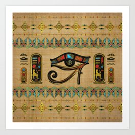 Egyptian Eye of Horus Ornament on papyrus Art Print