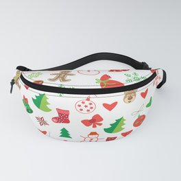 Happy New Year and Christmas Symbols Decoration Fanny Pack