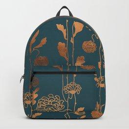 Art Deco Copper Flowers Backpack