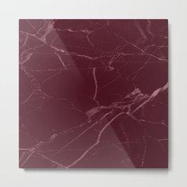 modern burgundy marble look Metal Print