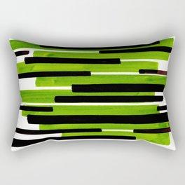 Lime Green Primitive Stripes Mid Century Modern Minimalist Watercolor Gouache Painting Colorful Stri Rectangular Pillow