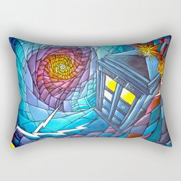 Tardis stained glass style Rectangular Pillow