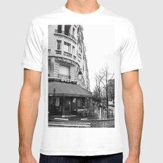 Parisian Cafe White Mens Fitted Tee MEDIUM