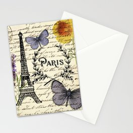 french botanical print purple butterfly lavender floral paris eiffel tower Stationery Cards
