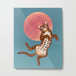 The Cat And The Blood Moon Metal Print